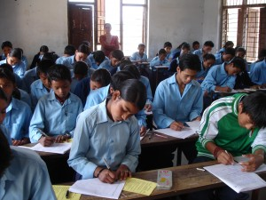 Exams in classroom at Shree Mahendra Jyoti School